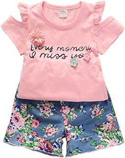 childrens-costumes 2Pcs Kids Girls Flower Floral Pattern Casual T-Shirts Tee Short Sleeve Tops Shorts Sets Outfits