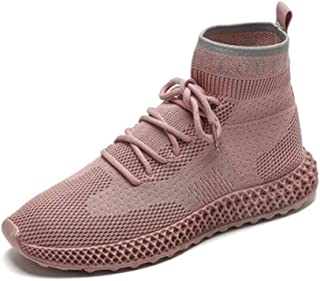 HXSD Sports Shoes, Breathable Flying Woven Socks Shoes, Casual Shoes Flat Fitness Running Shoes (Color : Pink, Size : 38EU)