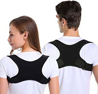 Posture Corrector for Men and Women, Adjustable Upper Back Brace Straightener for Clavicle Support and Providing Pain Reli...