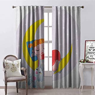 Gloria Johnson Cartoon 99% Blackout Curtains Girl on Moon with Her Teddy Bear Sleeping Luna Night Dream Cartoon Artful for Bedroom- Kindergarten- Living Room W52 x L63 Inch Red Yellow Grey