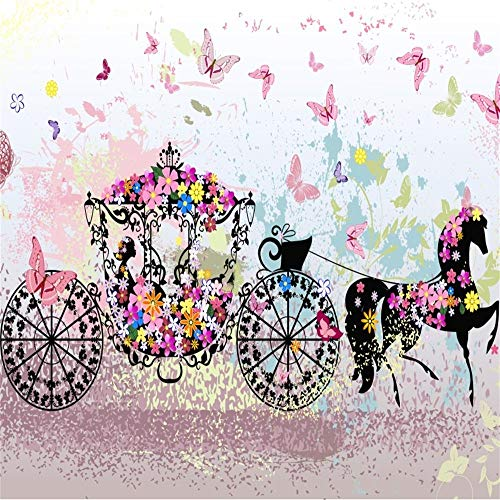 EdCott 5x5ft Vintage Floral Carriage Telón de Fondo Cuento de Hadas Hermosas Mariposas Flores Caballo y Carro Niñas Sueño Boda Fiesta Cumpleaños Fotografía Fondo Photo Studio Prop