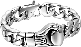 Oidea Mens High Polished Stainless Steel Gothic Boxing Glove Heavy Curb Chain Bracelet for Biker Birthday, 9 Inch