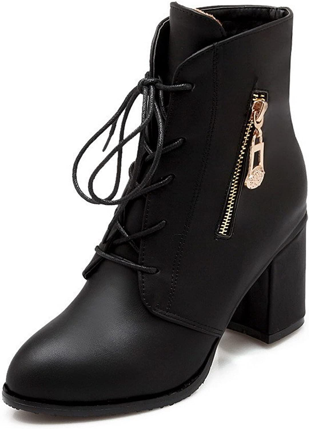 AmoonyFashion Women's Pu High Heels Round Closed Toe Solid Lace Up Boots