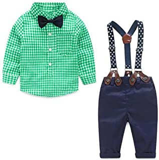 JIANLANPTT 2Pcs Kids Baby Boys Gentleman Bowtie Plaid Shirt Overall Outfit Set