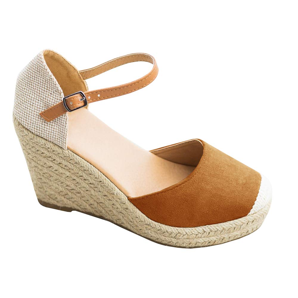 FISACE Womens Summer Espadrille Heel Platform Wedge Sandals Ankle Buckle Strap Closed Toe Shoes