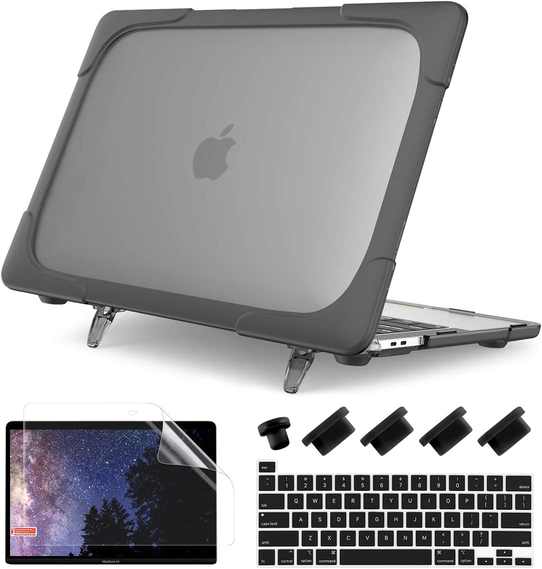 Batianda for MacBook Pro 13 inch Case 2020 Release A2338 M1 A2289 A2251, Heavy Duty Plastic Hard Shell Cover with Fold Kickstand Shockproof Function for Newest MacBook Pro 13 inch Touch Bar, Grey