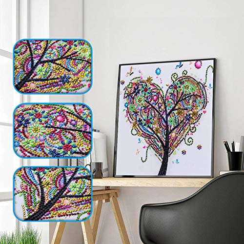 Special Shape 5D Diamond Painting Kits for Adults Kids, Awesocrafts Love Tree Flowers Bee Partial Drill DIY Diamond Art Embroidery Paint by Numbers with Diamonds (Tree)