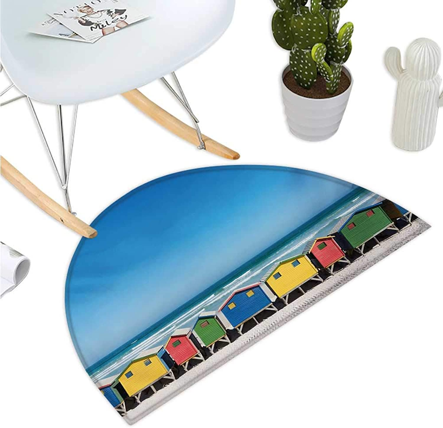 Travel Half Round Door mats colorful Bathhouses at Muizenberg Cape Town South Africa Standing in a Row Touristic Bathroom Mat H 35.4  xD 53.1  Multicolor