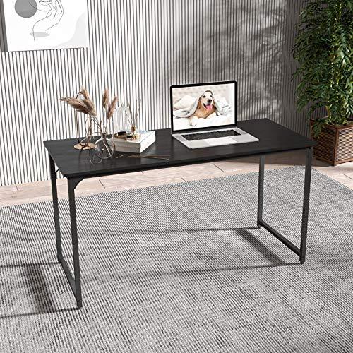 Smile Back Black Table Computer Desk 55.2'' Small Desk Modern Simple Style PC Table, Desks for Home Office Small Tables for Small Spaces, Black Metal Frame (Black, 55'')