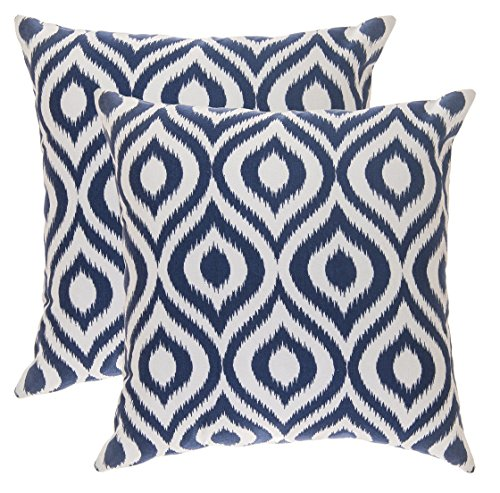TreeWool - Pack de 2 - Ogee Ikat Acento Decorativo Fundas de cojín, 100% algodón (50 x 50 cm / 20 x 20 Pulgadas, Azul Marino)
