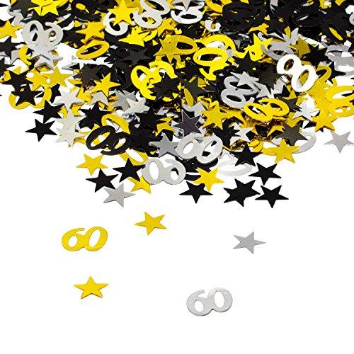 Oblique-Unique® 60. Geburtstag Jubiläum Konfetti Gold Silber Schwarz Sterne Tisch Deko 500 Stück