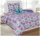K&M MK Collection de lit Doudou avec Ensemble de Fourrure Papillon Taie d'oreiller Papillon Turquoise Violet Rose Blanc Neuf, Microfibre, Purple, Turquoise, Pink,White, Twin Comforter