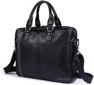"Men's Accessories New Men's Leather 13"" Laptop iPad Business Briefcase Messenger Bag Notebook Shoulder Crossbody Handbag Black Outdoor Recreation"