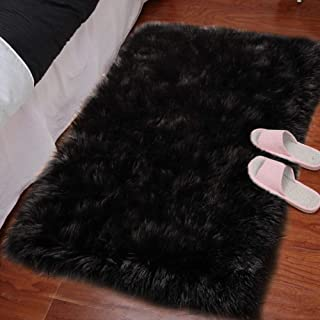 LOCHAS Silky Soft Faux Fur Sheepskin Rug 2'x3', Fluffy Bedside Rugs for Bedroom Thick Floor Wool Carpet, Machine Washable, Black