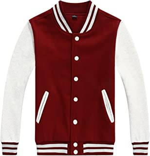 chouyatou Women/Men`s Basic Color-Block Cotton Varsity Letterman Jacket