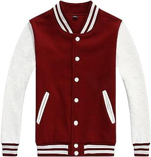 chouyatou Women/Men`s Basic Color-Block Cotton Varsity Letterman Jacket