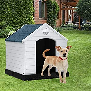 Dog House, Dog House for Small Medium Dogs, Waterproof Ventilate Plastic Durable Indoor Outdoor Pet Shelter Kennel with Air Vents and Elevated Floor, Easy to Assemble