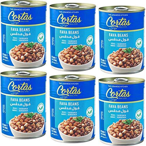 Cortas - Fava Beans 14oz (6 PACK), RTE Cooked Foul Medammas (Original, Plain)