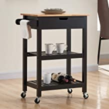 conifferism Kitchen Cart, Portable Kitchen Islands with Wheels, Microwave Cart with Storage for Dining Rooms Kitchens Black