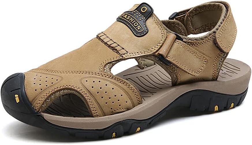 LHRFC Men Summer Sandals Non Slip Beach Casual Outdoor Fashion Comfortable Lightweight Hollow Comfort Handmade Leather Beach Shoes Khaki -EU43