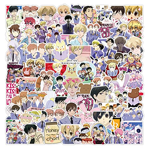 Ouran High School Host Club Stickers, 100Pcs Vinyl Waterproof Ouran Stickers Decals for Hydro Flask, Water Bottle, Laptop,Skateboard, Computer,Phone