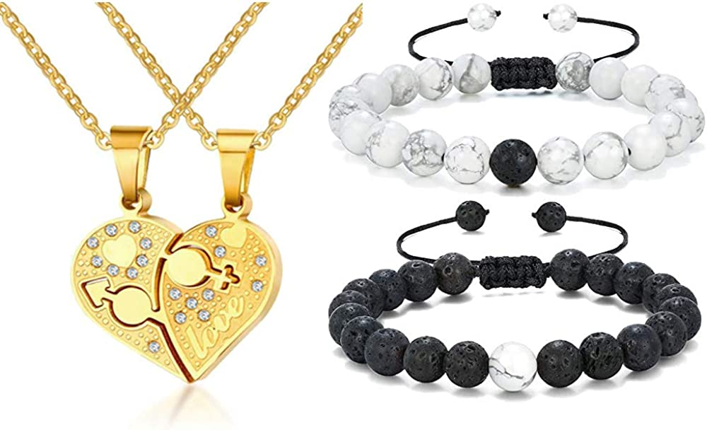 Mealguet Jewelry Stainless Steel It is very popular Matching Heart Pe Love Couple's Cheap mail order specialty store