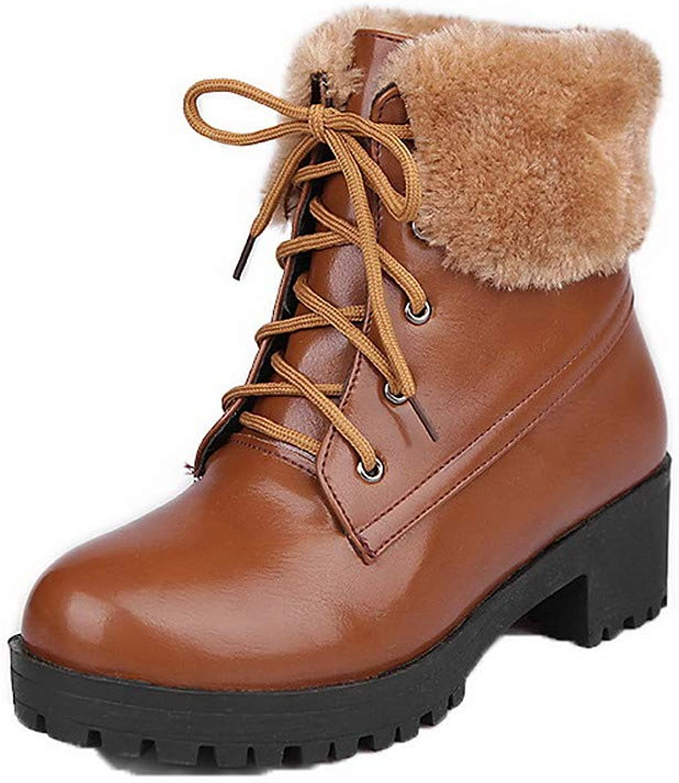 WeenFashion Women's Closed-Toe Kitten-Heels Pu Low-Top Solid Boots, AMGXX024187