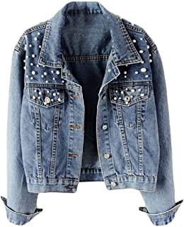 Macondoo Womens Fashion Beading Coat Denim Button Down Jean Jackets