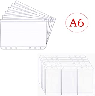 LONG TAO 12PCS A6 6 Holes Loose Leaf Notebook Refills Filler Organizer - 6PCS Zipper Bag And 6PCS Business Card Refill Page Included