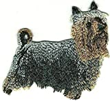 Embroidered Iron On Sew On Patch Australian Silky Terrier Dog Great Quality Applique, 2.5' Tall x 3' Wide