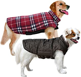 MIGOHI Dog Jackets for Winter Windproof Waterproof Reversible Dog Coat for Cold Weather British Style Plaid Warm Dog Vest for Small Medium Large Dogs