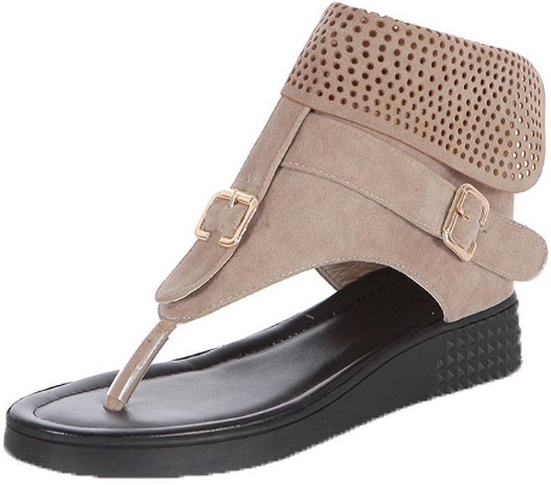 WeenFashion Women's Zipper PU Split-Toe Low-Heels Solid Sandals
