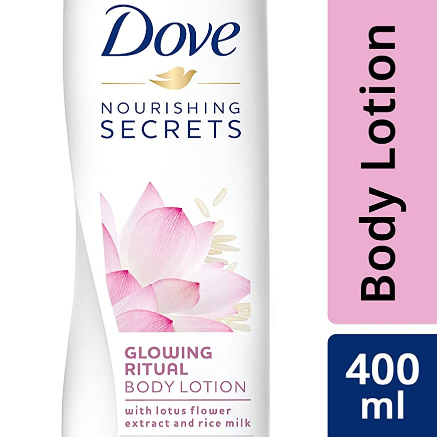 合併打撃ピアースDove Glowing Ritual Body Lotion, 400ml (Lotus flower and rice milk)