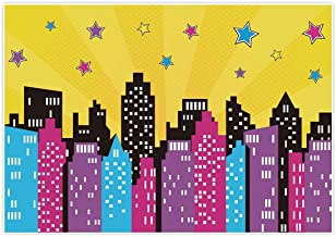 Allenjoy 7x5ft Superhero Backdrop Party Happy Birthday Pink Colorful Watercolor City Skyline Buildings for Girl Kids Baby Shower Banner Favors Photography Background Photo Studio Booth Decoration