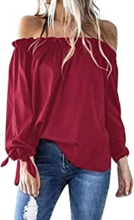 OrchidAmor Women Casual Boat Neck Long Sleeve Cold Shoulder T-Shirt Tunic Top Blouse