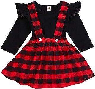 Toddler Baby Girls Infant Summer Dress Ruffle Long Sleeve Tops+Suspender Skirt Overall Clothes Set 0-5T