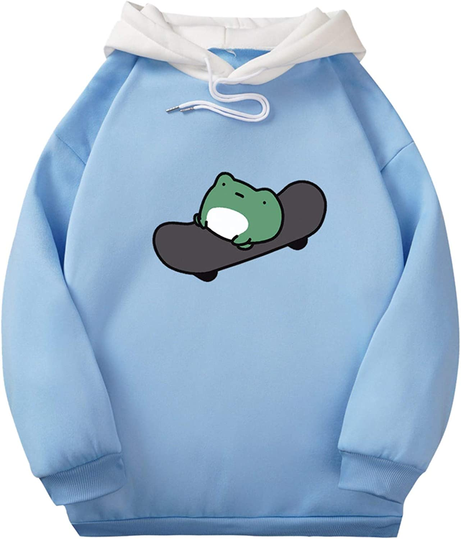 Hotkey Pullovers for Women, Women's Long Sleeve Drawstring Cartoon Frog Sweatshirts Tops Printed Hooded Active Hoodies