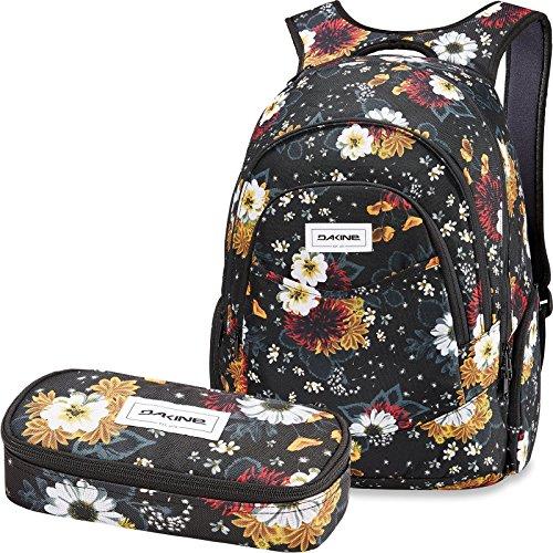 DAKINE 2er Set Rucksack Schulrucksack Laptoprucksack 25l Prom + School CASE Mäppchen Winter Daisy
