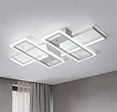 Jaycomey Ceiling Modern Light Acrylic, Flush Mount LED Ceiling Lighting Fixtures, White Square Ceiling Lamps 95W LED Chand...