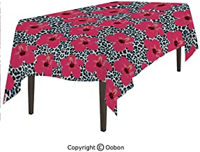 oobon Space Decorations Tablecloth, Tropical Hibiscus Flowers and Leopard Pattern Tropics Botanical Jaguar African Animal, Rectangular Table Cover for Dining Room Kitchen, W60xL102 inch
