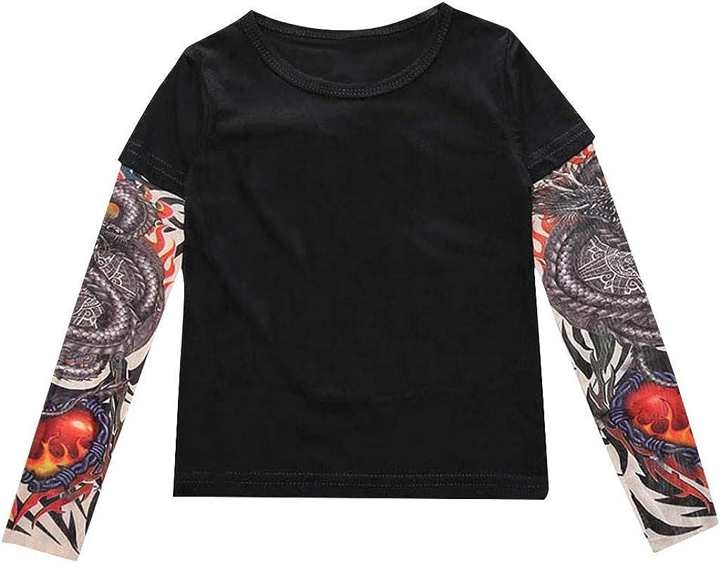DaMohony Kids Toddler Langarmshirt Tattoo Print Pullover Top Shirt