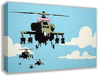 "BANKSY APACHE HELICOPTER GUNSHIP CANVAS WALL ART (30"" X 18"")"