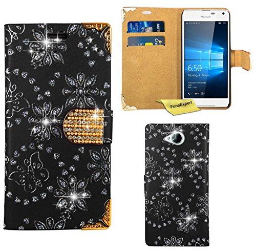 Produktbild Microsoft Lumia 650 Handy Tasche,  FoneExpert® Bling Luxus Diamant Hülle Wallet Case Cover Hüllen Etui Ledertasche Premium Lederhülle Schutzhülle für Microsoft Lumia 650 (Schwarz)