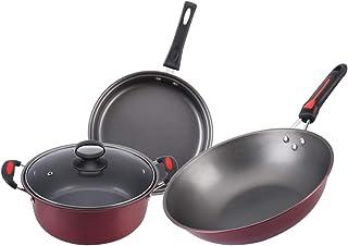 Wok Cookware Set Cuisine Ménage Cuisinière Trois-Pieces Pan Set Cade-cadeau Pan Universal