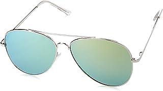 zeroUV Women's Large Full Metal Color Mirror Teardrop Flat Lens Aviator Sunglasses 60Mm One-Size Silver/Yellow Mirror