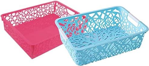 Dewberries Plastic Multi Purpose Storage Baskets (Colour May Vary) -Set of 2