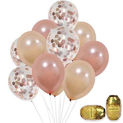 KUMEED Rose Gold Confetti Balloons Set 12 Inch Helium Champagne Latex For Birthday