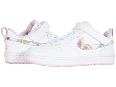 Nike Kids Court Borough Low 2 (Little Kid) (White/Multicolor/Light Arctic Pink) Girls Shoes