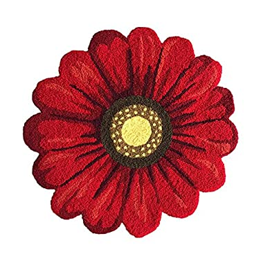 MeMoreCool Handmade Needlepoint Sunflower Area Rugs Home Decoration Carpet Washable Anti-slip Mats, 25  by 25 , Red