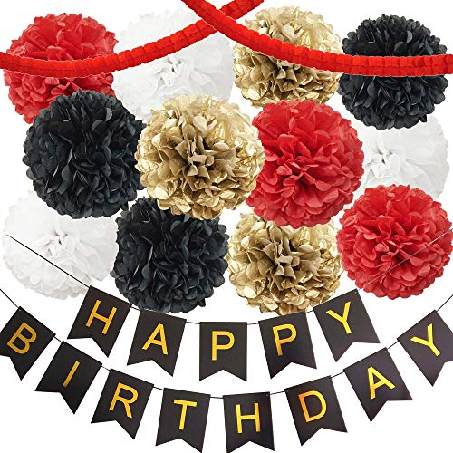 InBy Mickey Minnie Mouse Red Black Gold White Happy Birthday Baby Shower Party Decoration Supply Kit - 'Happy Birthday' Banner, 12